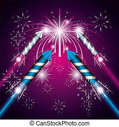 celebration of fireworks night scene icon