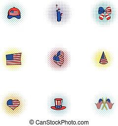 Celebration of independence day USA icons set