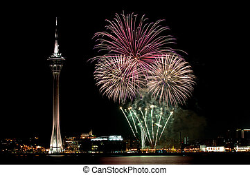 Celebration of New Year in Macau with fireworks beside the Tower Convention and Entertainment Center
