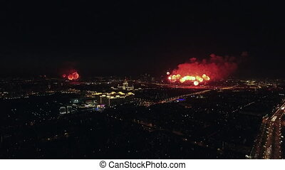 Celebration of Victory Day with fireworks in night Moscow
