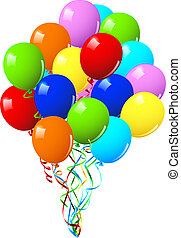 Celebration or birthday Party balloons on a white background...