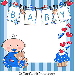 newborn baby boy - celebration or invitation card for ...
