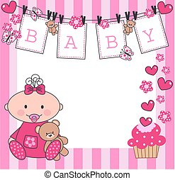 newborn baby girl - celebration or invitation card for ...