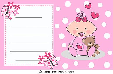 newborn baby girl - celebration or invitation card for ...