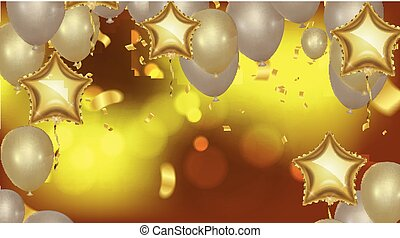 Celebration party background with balloons and serpentine. Greeting, invitation or flyer. Party colorful