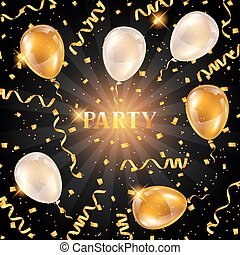 Celebration party background with golden balloons and serpentine. Greeting, invitation card or flyer