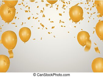 Celebration party banner with golden balloons and serpentine