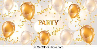 Celebration party banner with golden balloons and serpentine. Greeting, invitation card or flyer