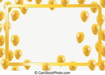 Celebration party gold balloons confetti for party invitation background. vector