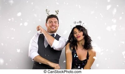 couple dancing at christmas or new year party