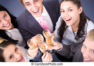 Celebration - Photo of happy friends cheering up during ...