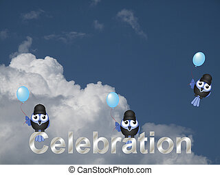 Celebration text with birds against a cloudy blue sky