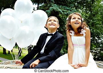 Celebration - Portrait of children bride and groom with...