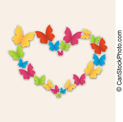 Celebration postcard with heart made in colorful butterflies for Valentine Day, copy space for your text