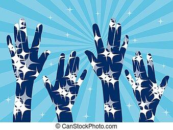 celebration-praise, sterretjes, handen