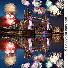 (celebration, puente, inglaterra, fuego artificial, year),...