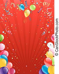 Celebration red background with balloons