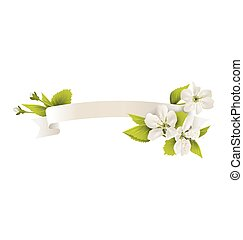Celebration ribbon flag with cherry flowers isolated on white