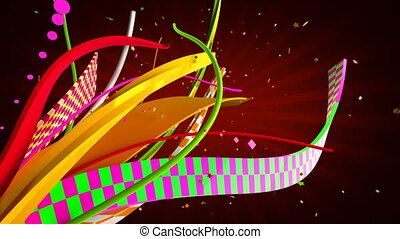 Flying celebration ribbons and confetti. Alpha channel included