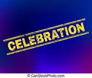 CELEBRATION Scratched Stamp Seal on Gradient Background