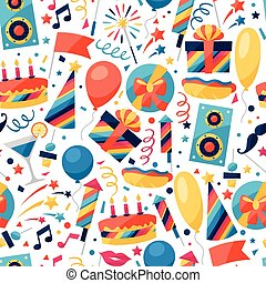 Celebration seamless pattern with party icons and objects. -...