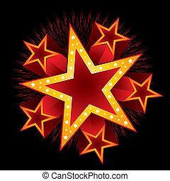 Shooting stars with fireworks around big neon
