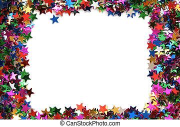 Celebration stars frame on a white background