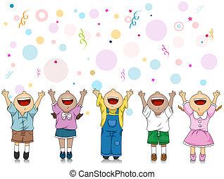 Celebration - Illustration of Kids Celebrating a Special...