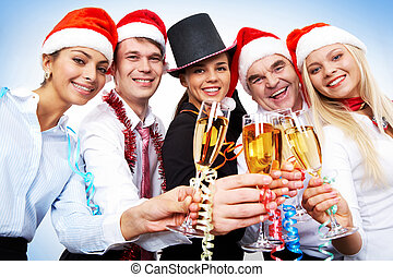 Celebration - Portrait of smart colleagues with flutes of...
