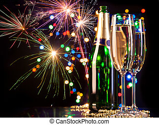 Celebration theme - Champagne glasses with fireworks on ...