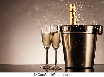 Celebration theme with champagne still life - Champagne...