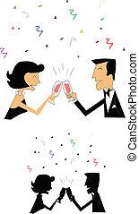 celebration toast - couple toasting life's events in retro...