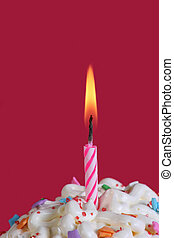 a cupcake with a singel candle lit. Birthday or special occasion