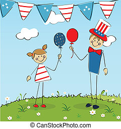 Celebration - two kids celebrating american independence day