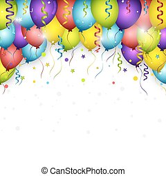Celebration vector background with colorful confetti, balloons and ribbons. Happy Birthday greeting card.
