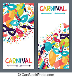 Celebration vertical banners with carnival icons and...