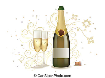 celebration with champagne - champagne and floral background
