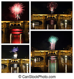 celebration with fireworks in a beautiful scenery of  Florence c
