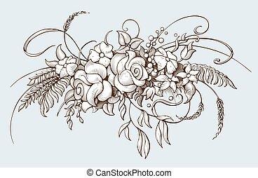 celebrations., metszés, más, botanikai, csokor, ábra, mód, barokk, csokor, esküvő, flowers., vagy, szüret