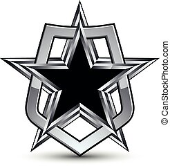 Celebrative vector silver emblem with black pentagonal star,...