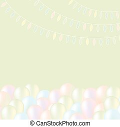 Celebratory background with garlands of lights and balloons