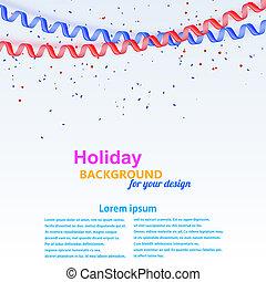 Celebratory background with streamer and confetti