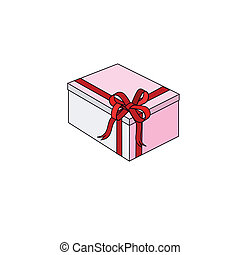 Celebratory box with a red bow.Vector illustration