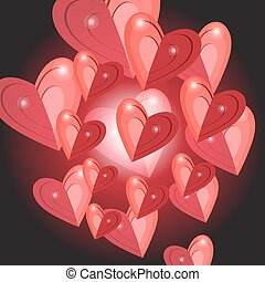 Celebratory bright background with red hearts