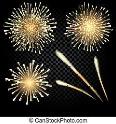 Celebratory bright fireworks on gradient background. illustration