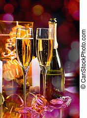 celebratory, bril, van, het fonkelen, champagne