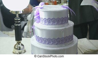 Celebratory cake for wedding. Close up