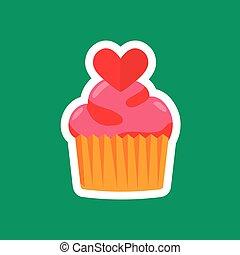 Celebratory cake heart on a green background