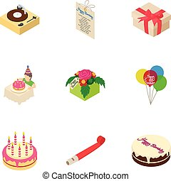 Celebratory cake icons set, isometric style