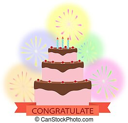Celebratory cake with salute and a congratulatory inscription on the tape